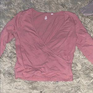 Blush pink cross long sleeve shirt
